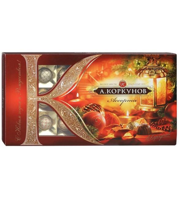 """""""А.Коркунов"""" Ассорти, тёмный и молочный шоколад с цельным лесным орехом, 190 г."""
