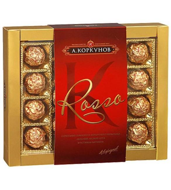 """""""А.Коркунов"""" Rosso, тёмный и молочный шоколад с лесным орехом, 230 г."""