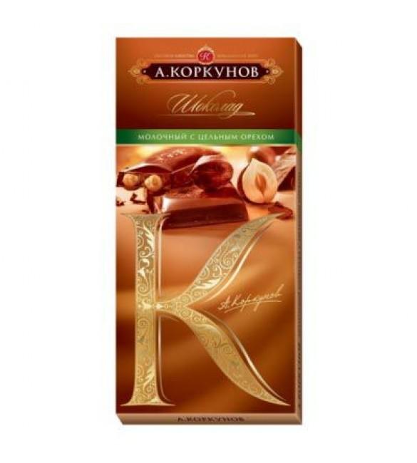 """Шоколад """"А.Коркунов"""" молочный с цельным фундуком, 100 г."""