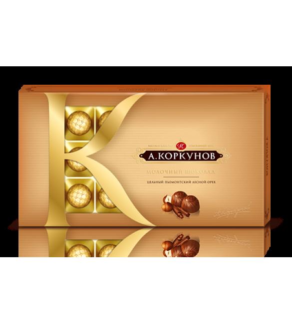 """""""А.Коркунов"""" молочный шоколад с цельным лесным орехом, 190 г."""