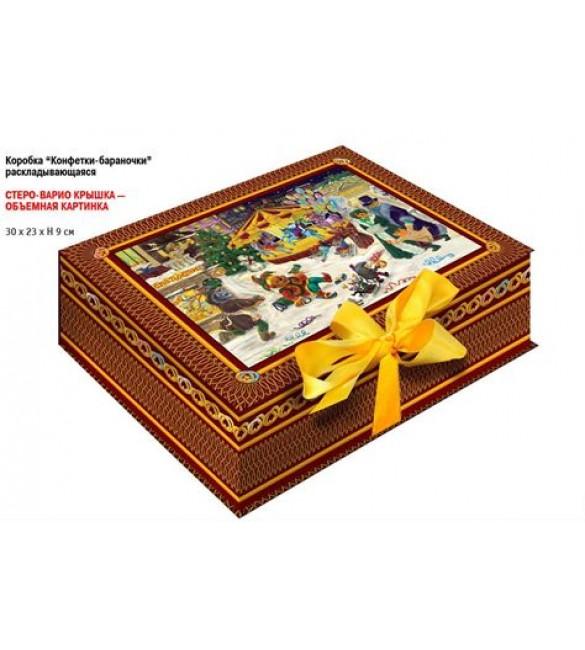 """Шкатулка """"Зимние забавы"""" (объёмная 3D картинка) + Пакет Подарочный + Игра"""